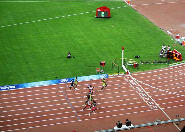 Final dos 100 metros rasos, Olimpíada de Pequim/2008. Recorde mundial de Usain Bolt.